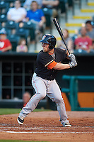 Fresno Grizzles second baseman Nolan Fontana (9) at bat during a game against the Oklahoma City Dodgers on June 1, 2015 at Chickasaw Bricktown Ballpark in Oklahoma City, Oklahoma.  Fresno defeated Oklahoma City 14-1.  (Mike Janes/Four Seam Images)