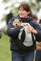 Spectator with her dog during the Mitsubishi Motors Badminton Horse Trials 2017 Badminton Glos. UK on 6th May 2017.