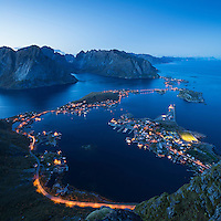Evening twilight over Reine from summit of Reinebringen, Moskenesoy, Lofoten Islands, Norway