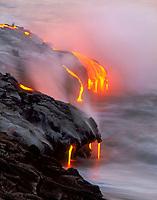 lava, entering the ocean, Hawaii Volcanoes National Park, Kilauea, Big Island, Hawaii, USA, Pacific Ocean