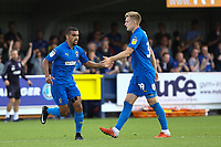 Joe Pigott (right) of AFC Wimbledon congratulates Kwesi Appiah of AFC Wimbledon after scoring his Goa; in the second half during AFC Wimbledon vs Scunthorpe United, Sky Bet EFL League 1 Football at the Cherry Red Records Stadium on 15th September 2018