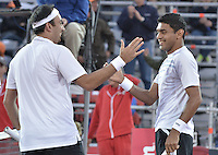 BOGOTÁ -COLOMBIA. 20-07-2013. Purav Raja (IND)(D)/ Dijiv Sharan (IND)(I) celebran tras ganar el juego contra Edouard Roger-Vasselin (FRA)/Igor Sijsling (HOL) en dobles en final del ATP Claro Open Colombia 2013 realizado hoy en el Centro de Alto Rendimiento en la ciudad de Bogotá. La pareja de indues ganaron en el torneo ATP tour 250 en la categoría de dobles. / Purav Raja (IND)(R)/ Dijiv Sharan (IND)(L) celebrate after winning the match against Edouard Roger-Vasselin (FRA)/Igor Sijsling (HOL) on the final of the ATP Claro 2013 today at Centro Alto Rendimiento in Bogota city. The  hindu couple won the first place on the ATP tour 250 in doubles category. Photo: VizzorImage / Str