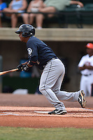 Pulaski Mariners second baseman Rafael Fernandez #2 swings at a pitch during a game against the Greenville Astros at Pioneer Park July 12, 2014 in Greenville, Tennessee. The Mariners defeated the Astros 11-10. (Tony Farlow/Four Seam Images)