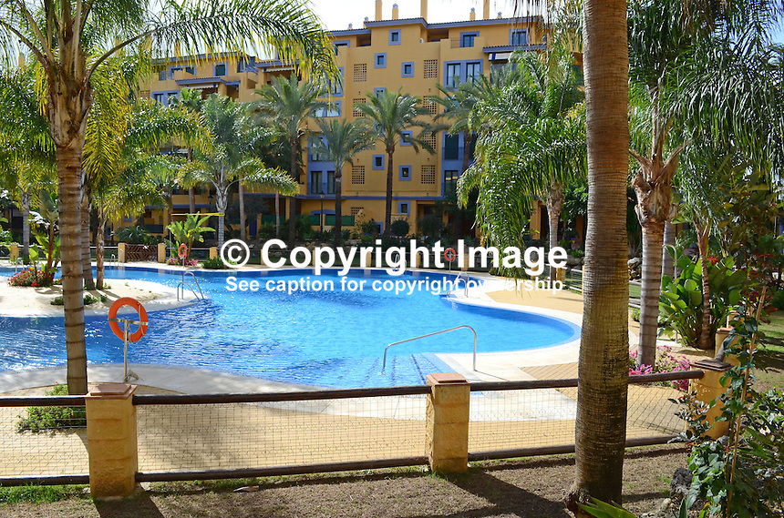Swimming pool, apartment complex, Los Jazmines, San Pedro de Alcantara, Marbella, Spain, 201211150937..Copyright Image from Victor Patterson, 54 Dorchester Park, Belfast, UK, BT9 6RJ..Tel: +44 28 9066 1296.Mob: +44 7802 353836.Voicemail +44 20 8816 7153.Skype: victorpattersonbelfast.Email: victorpatterson@me.com.Email: victorpatterson@ireland.com (back-up)..IMPORTANT: If you wish to use this image or any other of my images please go to www.victorpatterson.com and click on the Terms & Conditions. Then contact me by email or phone with the reference number(s) of the image(s) concerned.