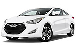 Low aggressive front three quarter view of a .2013 Hyundai Elantra Coupe