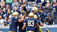 Running back Josh Adams (33) celebrates after a touchdown in the first quarter.