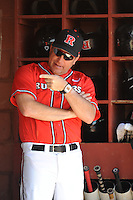 Rutgers University Scarlet Knights manager Joe Litterio (9) before a game against the University of Cincinnati Bearcats at Bainton Field on April 19, 2014 in Piscataway, New Jersey. Rutgers defeated Cincinnati 4-1.  (Tomasso DeRosa/ Four Seam Images)