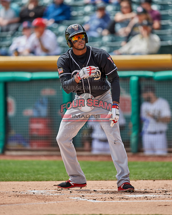 Franchy Cordero (10) of the El Paso Chihuahuas at bat against the Salt Lake Bees in Pacific Coast League action at Smith's Ballpark on April 30, 2017 in Salt Lake City, Utah.  El Paso defeated Salt Lake 3-0. This was Game 1 of a double-header. (Stephen Smith/Four Seam Images)