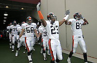 Virginia's Tony Franklin(81) cheers with teamate Deyon Williams(81) as Virginia takes the field before the start of the UVa/Virginia Tech match-up in Blacksburg, Va.