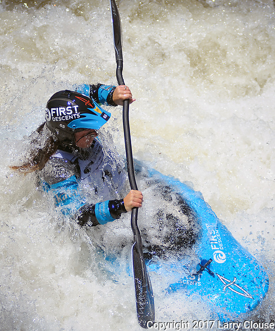 June 9, 2017 - Vail, Colorado, U.S. - USA's, Adriene Levknecht, in the Freestyle Kayak competition during the GoPro Mountain Games, Vail, Colorado.  Adventure athletes from around the world meet in Vail, Colorado, June 8-11, for America's largest celebration of mountain sports, music, and lifestyle.