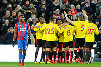Timothy Fosu-Mensah of Crystal Palace walks away as Watford celebrate Daryl Janmaat of Watford opening goal during the Premier League match between Crystal Palace and Watford at Selhurst Park, London, England on 13 December 2017. Photo by Carlton Myrie / PRiME Media Images.