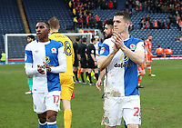 Blackburn Rovers' Amari'i Bell and Blackburn Rovers' Darragh Lenihan  celebrates their win at the end of the match<br /> <br /> <br /> Photographer Rachel Holborn/CameraSport<br /> <br /> The EFL Sky Bet League One - Blackburn Rovers v Blackpool - Saturday 10th March 2018 - Ewood Park - Blackburn<br /> <br /> World Copyright &copy; 2018 CameraSport. All rights reserved. 43 Linden Ave. Countesthorpe. Leicester. England. LE8 5PG - Tel: +44 (0) 116 277 4147 - admin@camerasport.com - www.camerasport.com