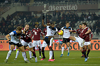25th January 2020; Olympic Grande Torino Stadium, Turin, Piedmont, Italy; Serie A Football, Torino versus Atalanta; Andrea Belotti of Torino FC and Duvan Zapata of Atalanta tussle for the ball