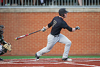Kevin Conway (7) of the Wake Forest Demon Deacons follows through on his swing against the Charlotte 49ers at Hayes Stadium on March 16, 2016 in Charlotte, North Carolina.  The 49ers defeated the Demon Deacons 7-6.  (Brian Westerholt/Four Seam Images)