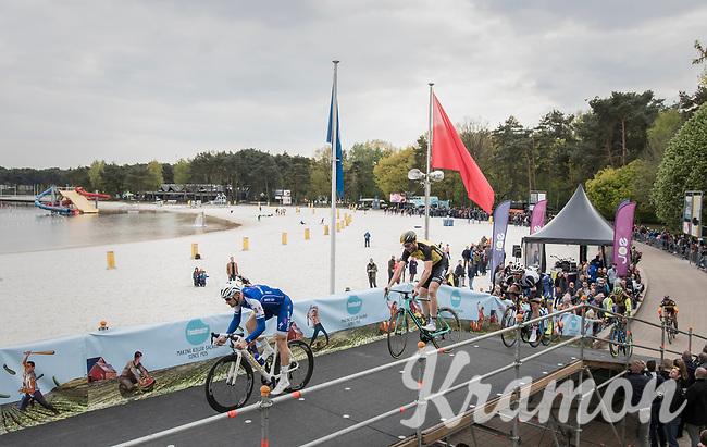 Tom Boonen (BEL/Quick-Step Floors) & Maarten Wynants (BEL/LottoNL-Jumbo) over the bridge at the Tom Boonen farewell race/criterium 'Tom Says Thanks!' in Mol/Belgium