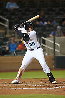 Salt River Rafters Colton Welker (34), of the Colorado Rockies organization, at bat during an Arizona Fall League game against the Mesa Solar Sox on September 19, 2019 at Salt River Fields at Talking Stick in Scottsdale, Arizona. Salt River defeated Mesa 4-1. (Zachary Lucy/Four Seam Images)