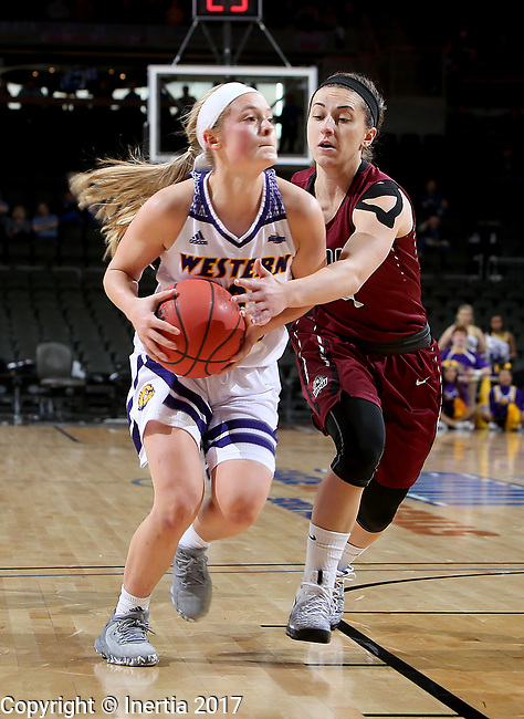 SIOUX FALLS, SD: MARCH 7: Emily Clemens #2 from Western Illinois tries to get a step past the reach in of Holly Hoopingarner #4 from IUPUI during the Women's Summit League Basketball Championship Game on March 7, 2017 at the Denny Sanford Premier Center in Sioux Falls, SD. (Photo by Dave Eggen/Inertia)