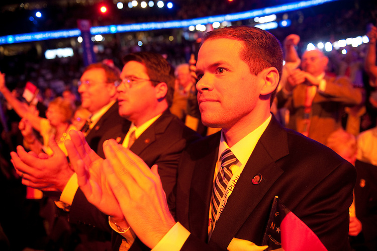 UNITED STATES - AUGUST 30: North Carolina delegates cheer GOP presidential candidate Mitt Romney at the 2012 Republican National Convention at the Tampa Bay Times Forum. (Photo By Chris Maddaloni/CQ Roll Call)