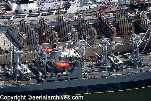 aerial photograph Coast Guard Merchant Marine berthed pier San Francisco, California