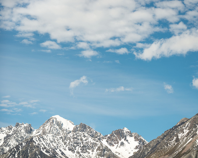 The Nuns Veil 2749m of Burnett Mountains with fresh snowfall, Aoraki Mount Cook National Park, UNESCO World Heritage Area,  Mackenzie Country, New Zealand, NZ