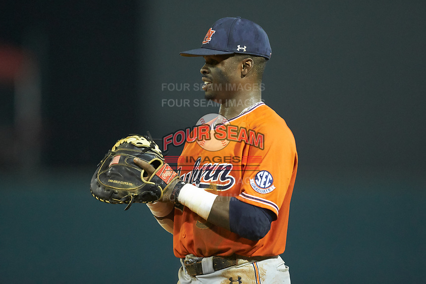 Auburn Tigers first baseman Josh Anthony (3) on defense against the Army Black Knights at Doak Field at Dail Park on June 2, 2018 in Raleigh, North Carolina. The Tigers defeated the Black Knights 12-1. (Brian Westerholt/Four Seam Images)