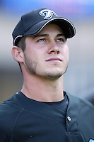 Dustin McGowan of the Toronto Blue Jays during batting practice before a game from the 2007 season at Angel Stadium in Anaheim, California. (Larry Goren/Four Seam Images)
