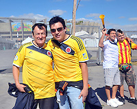 BELLO HORIZONTE  - BRASIL -13-06-2014. Hinchas de la selecci—n Colombia de futbol en las afueras del estadio Mineirao de esta ciudad antes del encuentro con Grecia. / Fans of Colombia soccer team on the outskirts of this city Mineirao stadium before the match with Greece. Photo: VizzorImage / Alfredo Gutierrez / Contribuidor
