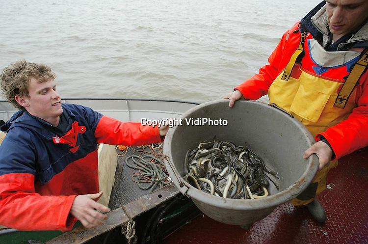 Foto: VidiPhoto..URK - Het paling seizoen in het IJsselmeer is gestart. De gebr. Visscher uit Urk zijn dinsdag begonnen met het binnenvissen van de eerste aal. Dat gebeurt via de zogenoemde kistjesvisserij, een eeuwenoud ambacht. Nog slechts zes Urker vissers vangen paling met kistjes, de anderen gebruiken fuiken. In de kistjes zit een fuikvormig net met daarin aas. Via gaten in de kist zwemt de aal naar binnen Voordeel van de kistjesvisserij is dat er geen bijvangst is. De vissers zijn niet ontevreden over de eerste vangst, vooral ook omdat het water eigenlijk nog te koud is voor de paling.