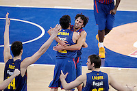 FC Barcelona Regal's Ante Tomic, Juan Carlos Navarro, Victor Sada and Erazem Lorbek celebrate the victory after Spanish Basketball King's Cup match.February 07,2013. (ALTERPHOTOS/Acero) /Nortephoto