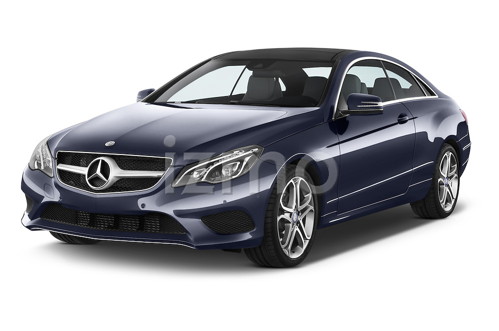 2013 Mercedes Benz E Class 220 2 Door Coupe Angular Front stock photos of front three quarter view