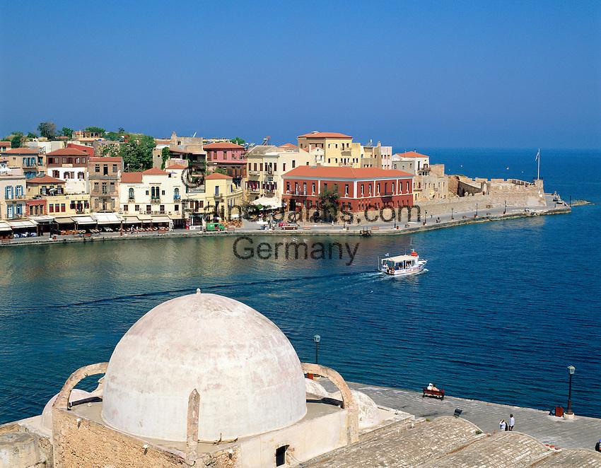Greece, Crete, Chania: View over Venetian Harbour | Griechenland, Kreta, Chania: Venezianischer Hafen