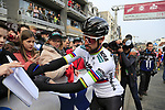 Slovakian National Champion Peter Sagan (SVK) Bora-Hansgrohe with fans at sign on before the 2019 Gent-Wevelgem in Flanders Fields running 252km from Deinze to Wevelgem, Belgium. 31st March 2019.<br /> Picture: Eoin Clarke | Cyclefile<br /> <br /> All photos usage must carry mandatory copyright credit (© Cyclefile | Eoin Clarke)