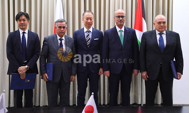 Palestinian Prime Minister Rami Hamdallah, meets with ambassador of Japan to Palestine, Takeshi kubo, in the West Bank city of Ramallah, February 13, 2019. Photo by Prime Minister Office