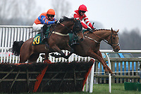 Wayward Glance ridden by Richard Killoran (L) and Tilos Gem ridden by Brian Toomey jump the last during the Say Yes To Better Broadband Conditional Jockeys Maiden Hurdle