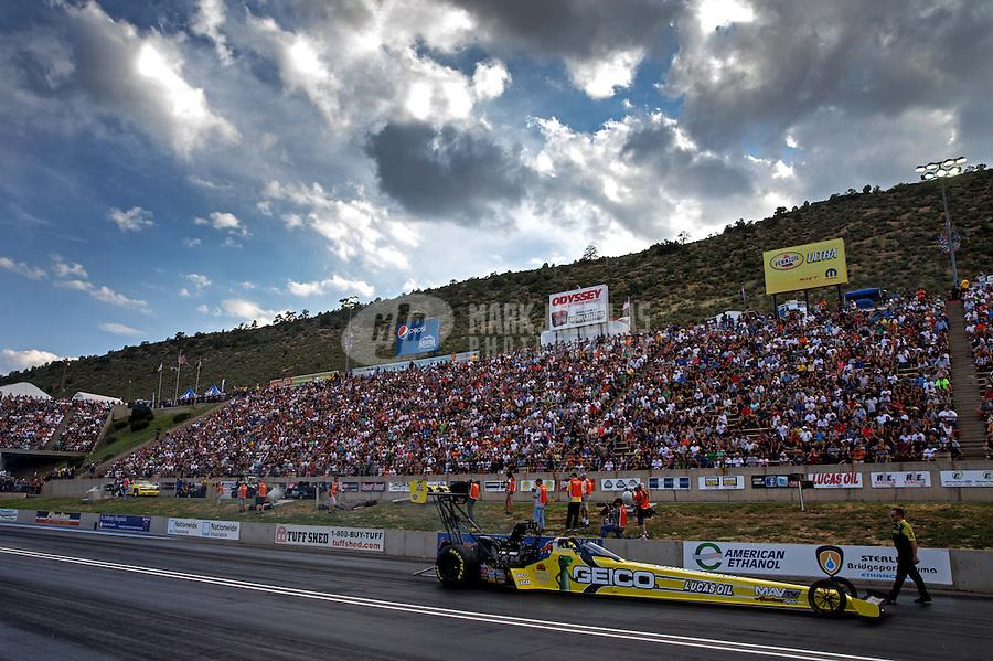 Jul. 19, 2013; Morrison, CO, USA: NHRA top fuel dragster driver Morgan Lucas during qualifying for the Mile High Nationals at Bandimere Speedway. Mandatory Credit: Mark J. Rebilas-