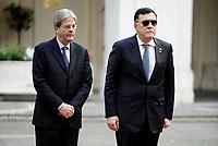 Roma, 20 Marzo 2017<br /> Il presidente del Consiglio Paolo Gentiloni riceve a Palazzo Chigi il Primo Ministro libico Fayez al-Sarraj.