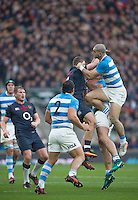 Twickenham, United Kingdom. {L} Jonny MAY and  Jaun PABLO ESTELLES contest the high ball, during the Old Mutual Wealth Series Rest Match: England vs Argentina, at the RFU Stadium, Twickenham, England, <br /> <br /> Saturday  26/11/2016<br /> <br /> [Mandatory Credit; Peter Spurrier/Intersport-images]