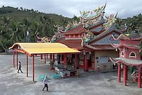 Elaborately decorated temple set on the east coast, just north of Taitung City, Taiwan. Taitung, and the coastal strip north of it up to Chenggong, has been seeing a big increase in property investment and new construction as people from the capital, Taipei, and some foreign investors, seek to buy holiday and retirement homes in this area of outstanding natural beauty. At the same time, property prices across the board in Taiwan are expected to rise bullishly following a return of the former ruling party - the KMT - to power in March 2008 elections, and their anticipated change of policy to allow Mainland Chinese purchases of Taiwan property..20 Jan 2008