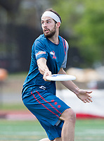 "Washington, DC - APR 22, 2018: DC Breeze Brad Scott (5) looks to make a pass during AUDL game between DC Breeze and the Ottawa Outlaws. The DC Breeze get the win 26-19 over Ottawa in the Battle of the Capitals"" at Catholic University Washington, DC. (Photo by Phil Peters/Media Images International)"