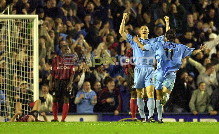 Pix: Ben Duffy....Nationwide First Division Football.....Coventry City v Manchester City.....19/09/2001..COPYWRIGHT PICTURE>>SIMON WILKINSON>>01943 436649>>..GOAL...Coventry's Muhammed Konjic celebrates putting his team ahead with their second goal of the game