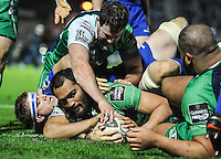 19 December 2014; Guinness Pro12 2014/15, <br /> George Naoupu scores a try for Connacht.<br /> Leinster v Connacht, RDS, Ballsbridge, Dublin. Picture credit: Tommy Grealy/actionshots.ie