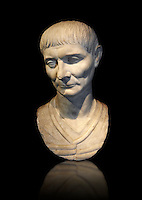 Roman portrait bust of a young man from 110 AD. In this portrait, the hairstyle and facial features are typical of the Trajan era of portraiture. The hairstyle is characterised by a slight central parting on the forehead . Inv 287, The National Roman Museum, Rome, Italy