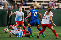 Seattle, WA - Wednesday, June 28, 2017: Beverly Yanez and Samantha Johnson during a regular season National Women's Soccer League (NWSL) match between the Seattle Reign FC and the Chicago Red Stars at Memorial Stadium.