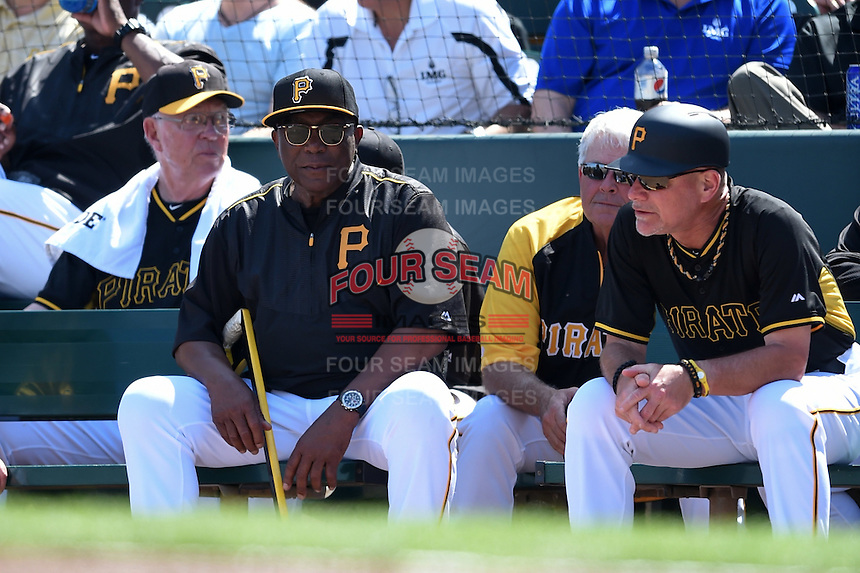 Pittsburgh Pirates instructor Manny Sanguillén and coach Rick Sofield during a Spring Training game against the New York Yankees on March 5, 2015 at McKechnie Field in Bradenton, Florida.  New York defeated Pittsburgh 2-1.  (Mike Janes/Four Seam Images)