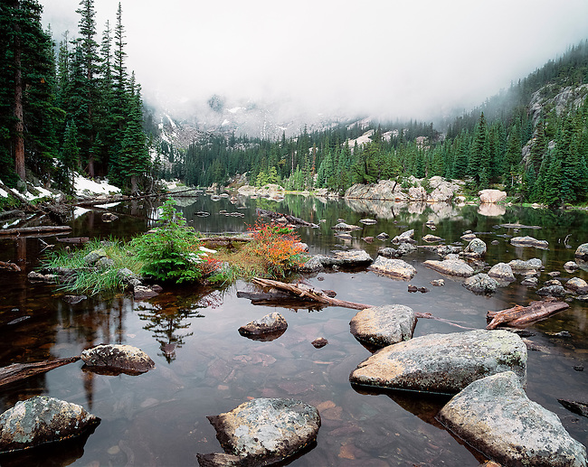 misty morning at Dream Lake in  Rocky Mountain National Park, Colorado, USA