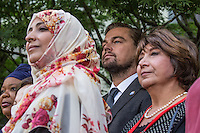 NEW YORK CITY, UNITED STATES SEPTEMBER 16, 2016: Participants at the annual Peace Bell Ceremony. (Center ) UN Messengers of Peace Leonardo DiCaprio  at the United Nations Headquarters in New York.   Photo by VIEWpress/Maite H. Mateo