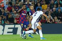 29th October 2019; Camp Nou, Barcelona, Catalonia, Spain; La Liga Football, Barcelona versus Real Valladolid; Ansu Fati takes on Pedro Porro of Valladolid