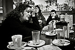 Relatives of Basque prisoners waiting and having breakfast in a bar at right before going to visit their loved ones imprisoned at Herrera de la Mancha (Manzanares, Ciudad Real province) after having driven more than 600 Km. Llanos del Caudillo (Spain) January 19, 2008. Basque prisoners are dispersed on Spanish and French prisons. Usually their relatives travel together using vans driven by volunteers who they call themselves 'Mirentxin' (something similar to 'little Mari'). (Bostok Photo/Gari Garaialde)