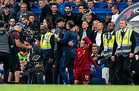 Jurgen Klopp manager of Liverpool and Frank Lampard manager of Chelsea hug after the final whistle during the Premier League match between Chelsea and Liverpool at Stamford Bridge, London, England on 22 September 2019. Photo by Liam McAvoy / PRiME Media Images.