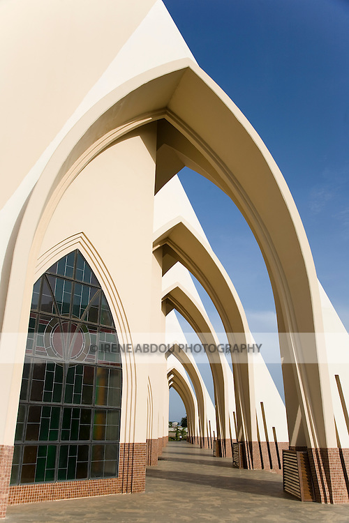 The Catholic Church in Abuja, Nigeria includes a multitude of arches in the architecture.